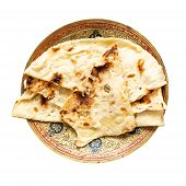 Indian Cuisine - Naan Flat Bread Baked In Tandoor On Brass Plate Isolated On White Background poster