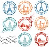 pic of bridge  - City stamps collection with symbols - JPG