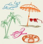 Summer beach holiday items: inflatable dolphin, life buoy, umbrella, sunglasses, palm trees and slip