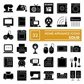 Home Appliance Glyph Icon Set, Household Symbols Collection, Vector Sketches, Logo Illustrations, El poster