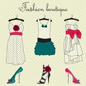 stock photo of boutique  - Fashion boutique set - JPG