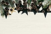 Modern Christmas Image With Green Fir Branches, Golden Pine Cones And Stars With Space For Text. Fla poster