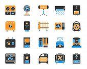 Hvac Silhouette Icons Set. Isolated Sign Kit Of Climatic Equipment. Fan Pictogram Collection Include poster