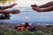 Beautiful Campfire In The Evening At Lake. Fire Burning In Dusk At Campsite poster