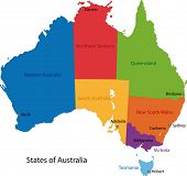 Colorful Australia map with regions and main cities
