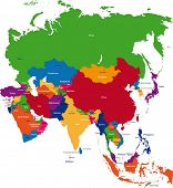 picture of south east asia  - Colorful Asia map with countries and capital cities - JPG