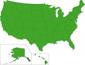 pic of united states map  - Green map of the United States of America with state borders - JPG