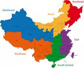 foto of cartographer  - Color map of the regions and divisions of China - JPG