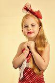 Child Girl In Stylish Glamour Elegant Dress. Retro Look, Hairdresser, Makeup. Retro Girl Or Fashion  poster