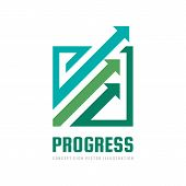 Progress - Concept Business Logo Template Vector Illustration. Abstract Arrows System Creative Sign. poster