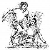 Постер, плакат: Рисование футболистов