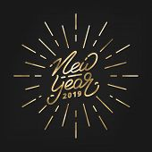 New Year 2019. Happy New Year 2019 Gold Foil Hand Lettering Label. Hand Drawn Logo For New Year Card poster