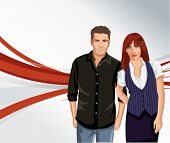 red and gray template with man and woman