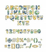 Alphabet Patchwork Vector Handmade Patch Work Abc Alphabetical Font With Fabric Sewed Letters And Nu poster