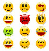 stock photo of sad faces  - Big set of vector smile icons - JPG