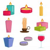 Set Colorful Candles Isolated On White Background. Aromatherapy Burning Candles With Aromatic Plant  poster