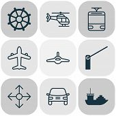 Transport Icons Set With Navigation, Cargo Boat, Air Transport And Other Flight Vehicle Elements. Is poster