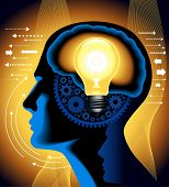 the concept of the emergence of the idea.shining lamp with the brain