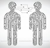 abstract figure of a man in the form of Circuit board.the communication between people with the help