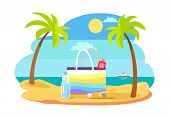 Summertime Illustration With Bag Full Spf Sun Protection Moisturisers Coastline, Stand On Hot Sand A poster