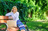 Sales Manager Works In Park. Woman With Laptop Works Outdoors. Best Sales Managers Always Possess Th poster