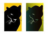 Постер, плакат: Черный puma простой и версии с градиентом Векторные иллюстрации