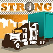 image of semi-truck  - Illustrated background with big truck - JPG