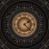 Vintage background with old clock. Vector illustration.