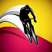 Designed background with bicycle driver. Vector illustration.