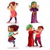 Naughty Children Vector Illustration Of Kids Mischief And Misbehavior. Cartoon Black Afro-amercian M poster