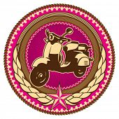 Illustrated retro emblem with moped. Vector illustration.
