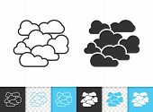 Overcast Black Linear And Silhouette Icons. Thin Line Sign Of Cloudy. Cloudiness Outline Pictogram I poster