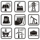 stock photo of hydroelectric  - Set energy icons of various ways to produce energy in one color - JPG