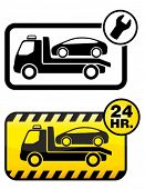 stock photo of wrecker  - Roadside assistance car towing truck icon - JPG