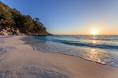 Sunrise In Marble Beach (saliara Beach), Thassos Islands, Greece. The Most Beautiful White Beach In  poster