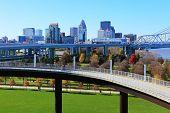 The Louisville, Kentucky Skyline With Pedestrian Walkway In Front poster