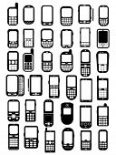 picture of analogy  - Cellphones and smartphones icons in vectors - JPG