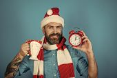 Christmas Man Hold Alarm Clock And Cup. Hipster In Santa Hat, Scarf Smile On Blue Background. New Ye poster