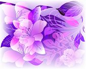Glowing Elegance Floral Vector Panel Pattern. Ornamental Abstract Purple Violet Pink Color Romantic  poster