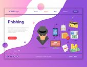 Cyber Crime Concept For Web Site, Advertising Like Hacker Phishing And Social Engineering. Landing P poster