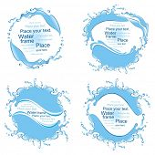 Collection of  water frames. Splashes. (vector illustration)