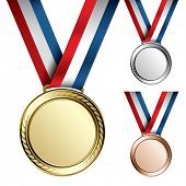 stock photo of gold medal  - Three detailed vector medals with room for your texts or images  - JPG