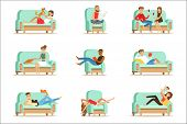 People Resting At Home Relaxing On Sofa Or Armchair Having Lazy Free Time And Rest Seris Of Illustra poster