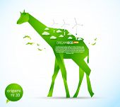 Eco friendly green origami template giraffe
