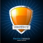 picture of shield  - Protect orange shield on blue background - JPG