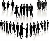 picture of person silhouette  - Business People crowd young vector silhouette illustration - JPG