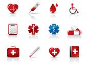 stock photo of ambulance car  - Medical and hospital icons set - JPG