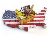 Market basket or consumer price index in USA United States. Shopping basket with foods on the map of poster
