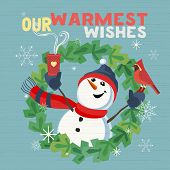 Fancy Seasonal Poster. Cartoon Playful Fun Snowman, Red Cardinal Bird. Merry Christmas Winter Season poster