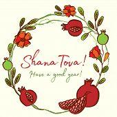 Rosh Hashanah Card - Jewish New Year. Greeting Text Shana Tova On Hebrew - Have A Good Year. Pomegra poster